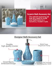 amazon com designer 4 piece bathroom accessories set with