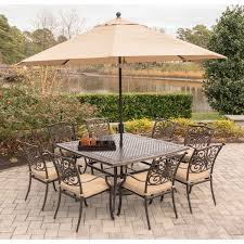 Patio Furniture Set With Umbrella - traditions 9 piece dining set in tan with square 60 in cast top
