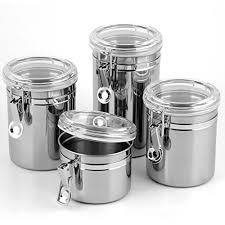 Black Canister Sets For Kitchen by Snagshout 5 Piece Stainless Steel Canister Set W Clamp Lids