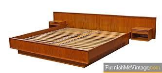 falster danish teak king platform bed with floating nightstands