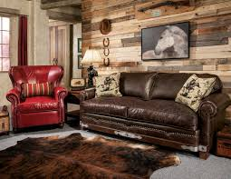 furniture rustic living room design with brown leather sofa by