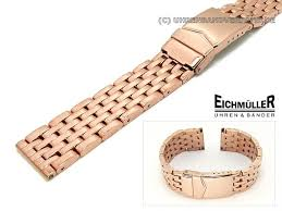 rose stainless steel bracelet images Watch band stainless steel 20mm rose gold plated solid polished jpg