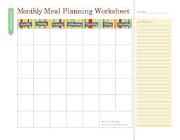 monthly dinner planner template free printable meal planners