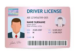 flat man driver license plastic card template id card vector