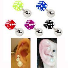 ear clasp 2pcs 1 2x8x3mm free shipping fashion ear nail ear clasp dice ear