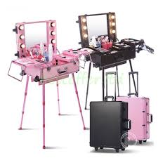 rolling makeup case with lighted mirror aluminum studio rolling makeup station train case lighted mirror 4