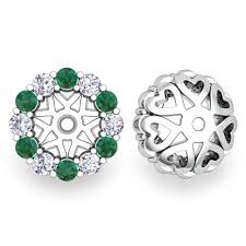earring jackets for studs halo diamond and emerald earring jackets in 18k gold 6mm