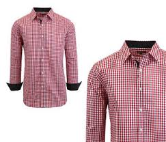 men u0027s long sleeve button down slim fit dress shirt gingham