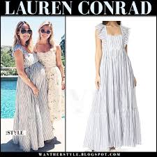 light blue and white striped maxi dress lauren conrad in blue striped maxi dress at her baby shower on may