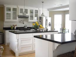 brown natural wood kitchen island top and double white racks