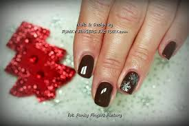 brown snowflakes gelish nails funky fingers factory