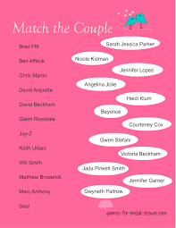couples shower free printable match the couples