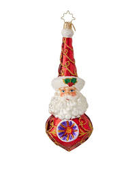 christopher radko merry and bright glass santa ornament