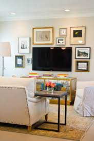 Living Room With No Coffee Table by Tv The Potted Boxwood
