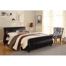 king size upholstered black pu leather bed frame bondi