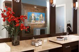 tv in the mirror bathroom contemporary bathroom