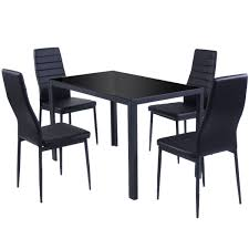 Outdoor Metal Dining Chairs 5 Pieces Metal Frame And Glass Tabletop Dining Set Kitchen