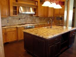 multi colored backsplash granite countertop cabinet bulkhead red