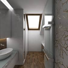 bathroom artictic wall decor in narrow attic bathroom ideas