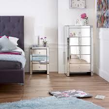 Venetian Mirrored Bedroom Furniture Venetian Mirrored 3 Drawer Bedside Table