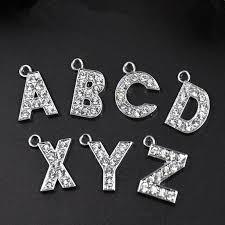 10mm diamond 10mm zinc alloy silvery color a z diamond pendant letters