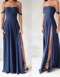 navy blue off shoulder long prom dress blue evening dresses