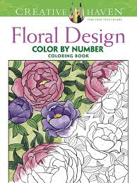 creative floral design color by number coloring book