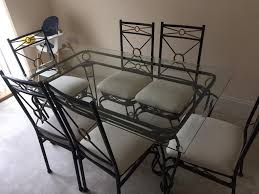 Glass Dining Table 6 Chairs Wrought Iron Glass Top Dining Table And 6 Chairs In Bradwell