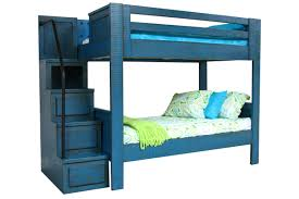 blue twin over twin bunk bed with staircase from gardner white
