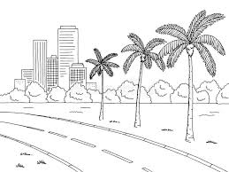 street road palm tree graphic black white landscape sketch