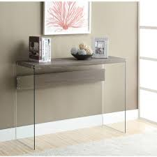 Modern Sofa Tables Monarch Console Table Taupe With Tempered Glass Walmart