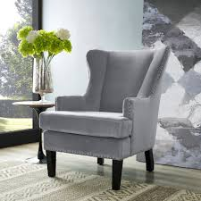 High Back Accent Chairs Soho Gray Velvet Wing Chair Tov Furniture Modern Manhattan