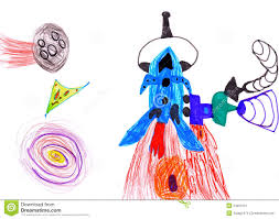 space rocket children u0027s drawing stock image image 24381621