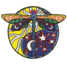 cosmic dragonfly day and yin yang embroidered patch