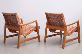 early jens risom armchairs leather webbing lounge chair woven