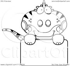 cartoon clipart of an outlined cute iguana lizard over a sign