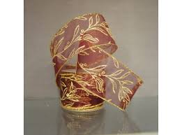 wired ribbon wired ribbon w glittered gold leaves on sheer burgundy ribbon num