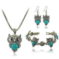 turquoise stone necklace set images Vintage antique silver owl jewelry set jpeg