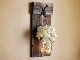 Rustic Wall Sconces Rustic Wall Decor Jar Wall Sconce Lighted Sconce Wall