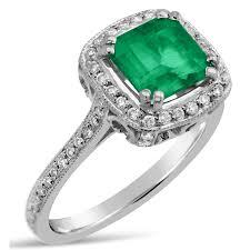 Diamond Cushion Cut Ring Antique Style Cushion Cut Emerald U0026 Diamonds Engagement Ring Emr100