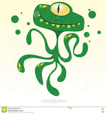 happy cartoon octopus vector halloween green monster with one eye