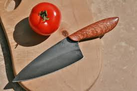 custom carbon steel chefs knife lacewood