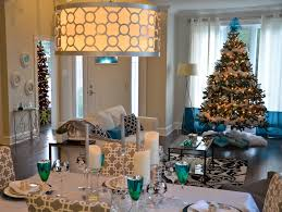 Blue White And Silver Christmas Tree - holiday decor candelabra with blue white vase and table runner
