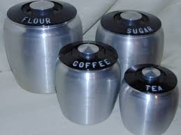 rare vtg kromex spun aluminum kitchen canister set black lids