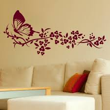 wall designs bedroom wall butterfly flowers big wall