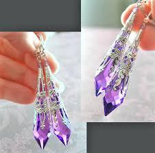 purple drop earrings purple earrings sterling silver earrings swarovski