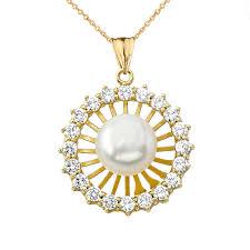 elegant pendant necklace images Elegant designer diamond pearl pendant necklace in yellow gold jpg
