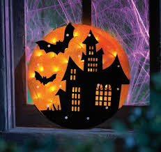Lighted Halloween Decorations Yard 14 inch lighted witch in moon halloween window decoration at diy