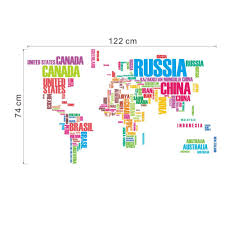 Diy World Map by Aliexpress Com Buy Diy Colorful Letters World Map Wall Stickers