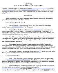 free missouri monthly rental agreement u2013 templates in pdf u2013 word